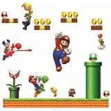 Giant Super Mario Bors Decal for Kid's Playroom Wall Decor Removable Boy's Room Wall Art Mario Yoshi and Friends Sticker
