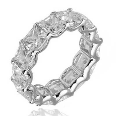 Princess Cut CZ Cubic Zirconia Sterling Silver Women's Eternity Wedding Ring Size 8