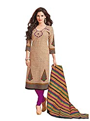 Taos Brand cotton dress materials for women womens dress materials cotton salwar suit New Arrival latest 2016 womens party wear Unstitched dress materials for women (1418 summer__cream and multicolour_freesize