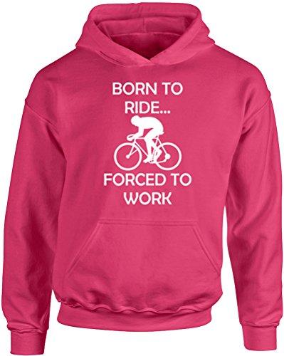 Born To Ride..., Kids Printed Hoodie - Hot Pink/White 3-4 Years