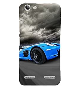 Blue Racing Car 3D Hard Polycarbonate Designer Back Case Cover for Lenovo Vibe K5 Plus :: Lenovo Vibe K5+
