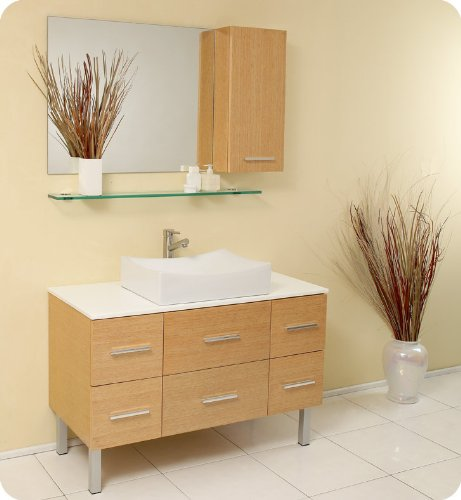 "Natural Wood Modern Bathroom Vanity With Mirror & Side Cabinet Fvn6123Nw: 43.25""W X 19.75""D X 33.5""H front-718151"