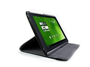 DURAGADGET Black 360 Degree Rotating Stand Case For Acer Iconia Tab A500 Tablet PC