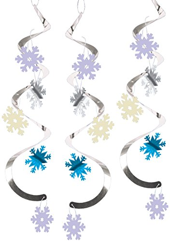 Creative Converting 5 Decorations Dizzy Danglers, Snowflakes, Silver/Blue