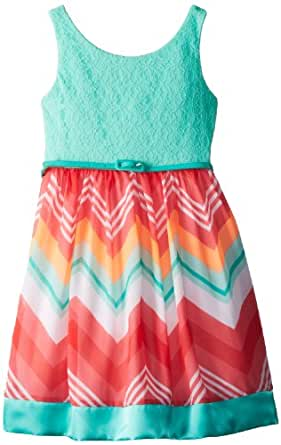 Rare Editions Big Girls' Lace Bodice Dress with Printed Woven Skirt, Mint/Coral, 7