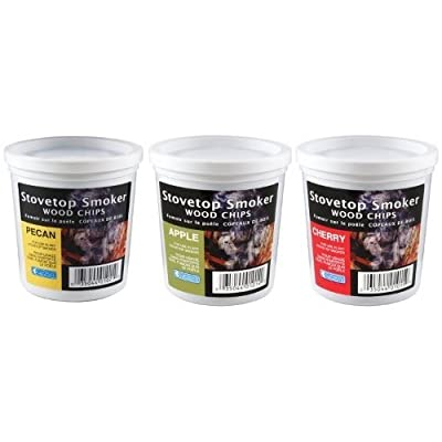 Wood Smoking Chips - Pecan, Apple, and Cherry Wood Chips for Smokers - Set of 3 Resealable Pints from Camerons Products