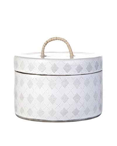 Lene Bjerre Acacia Covered Jar, White/Cement