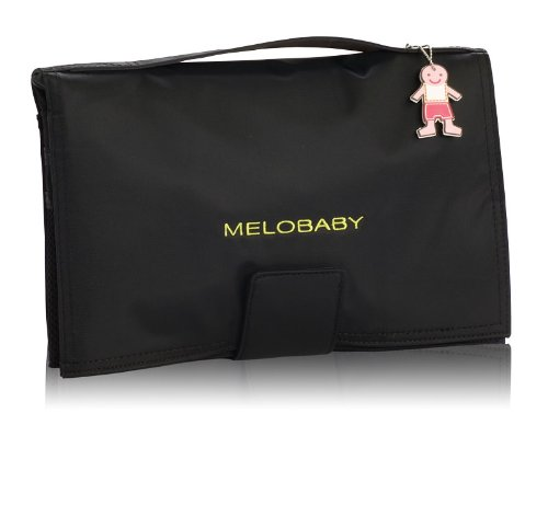 MELOBABY Melonoir Wallet Mat Changing Pads, Black/Charcoal