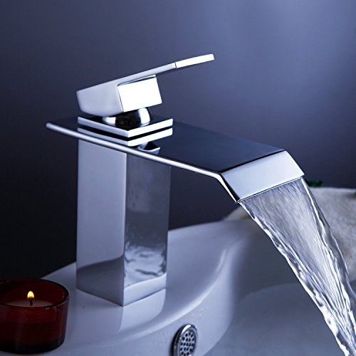Ouku® Single Handle Waterfall Bathroom Vanity Sink Faucet with Extra Large Rectangular Spout Bathtub Faucets Chrome Lavatory Widespread Bath Tub Mixer Taps