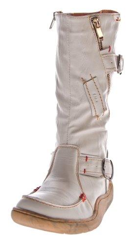 Leder Stiefel TMA Damen Winter Schuhe gefüttert Weiß Damenstiefel used look Gr. 36