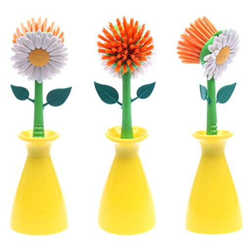 Sun Flower Kitchen Cleaning Brush Pan Pot Brush 1Pcs Multi Bathroom Plastic Brush Cleaning Tool Random Color (Flower Kitchen compare prices)
