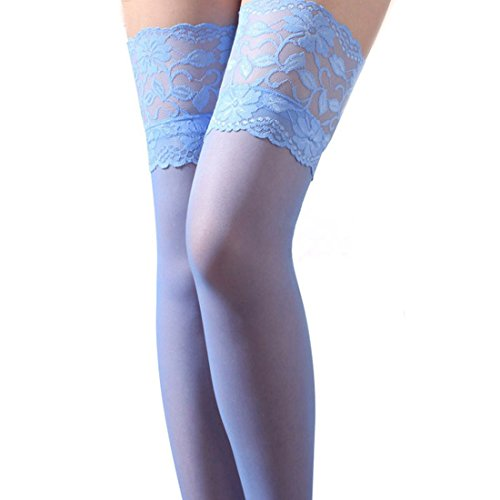 Coromose® Sexy Womens Lace Top Thigh High Stockings (Blue)