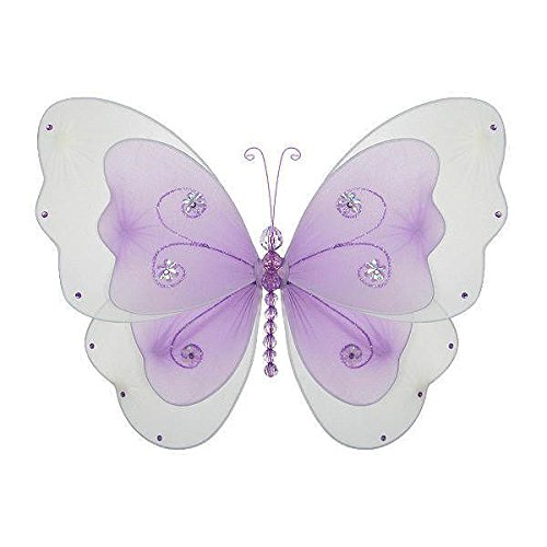 "The Butterfly Grove Sasha Butterfly Decoration for Baby Nursery Room, Purple Wisteria, Medium/13""x 8"""