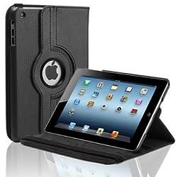 TGK 360 Degree Rotating Leather Case Cover Stand for iPad Mini Retina Display - Black