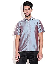 Vivyaan Steel Grey color Solid Pattern Men's party wear shirts