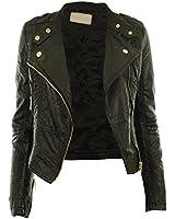 Diana New Womens Faux Leather Biker Gold or Metal Button Zip Crop Ladies Jacket Coat