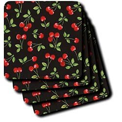 Lee Hiller Designs RAB Rockabilly - Red Cherries on Black - Coasters