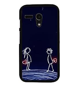 Love Couple 2D Hard Polycarbonate Designer Back Case Cover for Motorola Moto G :: Motorola Moto G (1St Gen)