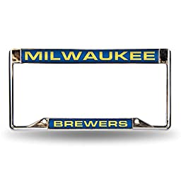 MLB Milwaukee Brewers Laser-Cut Chrome Auto License Plate Frame