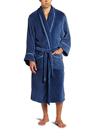 Intimo Men's Solid Corel Fleece Shawl Collar Robe, Navy, One Size