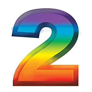 Amazon Com Club Pack Of 24 Bright Rainbow 3 D Number Quot 2