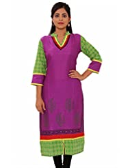 MSONS Womens Purple With Embroidered Neck Multi Printed Long Rayon Kurti
