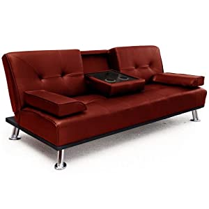 """Modern """"Cinema"""" Faux Leather 3 Seater Sofa Bed With Drinks Table from Veelar"""