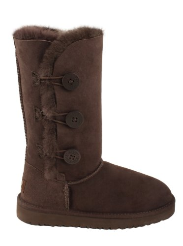 UGG New UGG® Australia Bailey Button Triplet Chocolate 6 Youth Boots