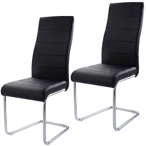 MasterPanel - Set of 2 PU Leather Dining Chairs Elegant Design High Back Home Furniture Black #TP3266 (Omega Days 2 Ship Of The Dead compare prices)