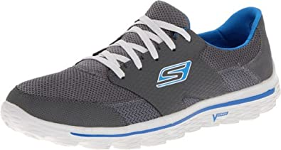 Skechers GO Walk 2 Stance Running Shoes Mens Gray Charcoal/Blue Size: 6 .5(40 EU)