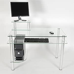 RTA Home and Office Glass Top Computer Desk