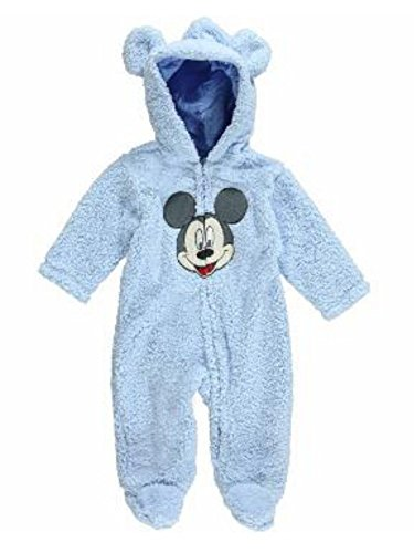 Disney Mickey Mouse Infant Boys Blue Faux Shearling Snowsuit Baby Pram 3-6m