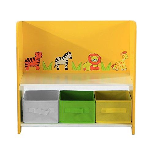 Bentley Kids - Meuble de rangement - étagère/3 boîtes colorées - enfant - motif safari/jungle