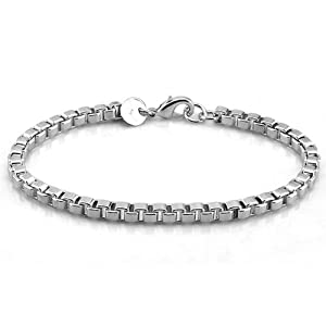 Platinum Plated 925 Sterling Silver Fashion Box Link Chain Bracelet 4mm 7.5