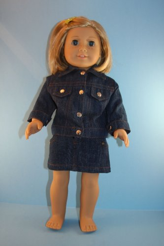 2pc Set Jean Jacket and Skirt Designed for 18 Inch Doll Like the American Girl Dolls