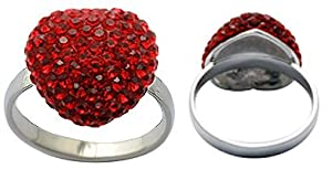 rhodium ring with CZ crystals by GlitZ JewelZ © - 3D heart shape - Size 7