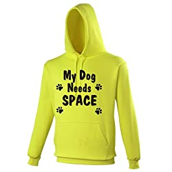 My Dog Needs Space - Neon Yellow Dog Walkers Hoodie - Ideal for anyone wanting to make people aware that their dog needs space.