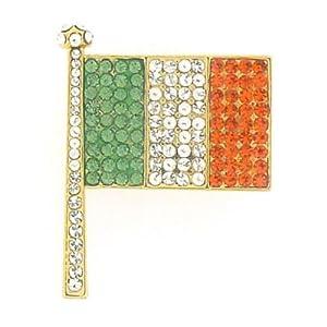 Butler and WilsonáSmall Crystal Irish Flag Brooch