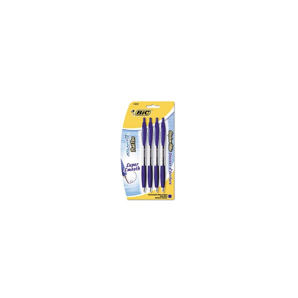 BIC Products   BIC   Atlantis Ballpoint Retractable Pen, Blue Ink, Medium, 4 per Pack   Sold As 1 Pack   Smooth, scratch free writing.   Soft cushion grip gives you great no slip comfort.