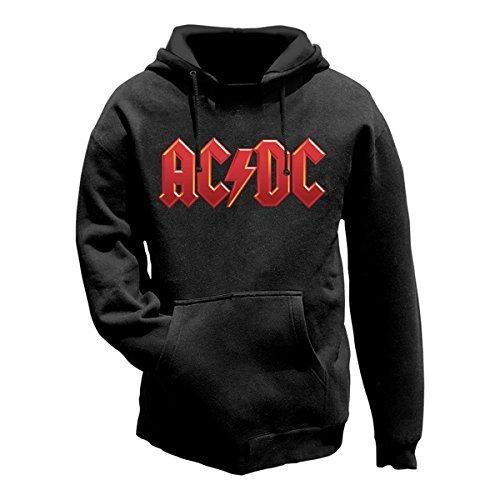 Delux - Felpa con logo AC/DC rosso, Nero (nero), XXL