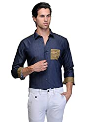 Edjoe Men's Blue With Printed Pocket Slim Fit Casual/Party Wear Shirt, BLEDMS0080