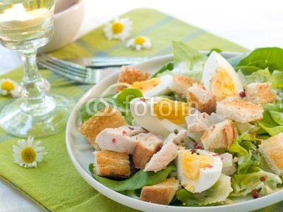 """Wallmonkeys Peel and Stick Wall Decals - Cesar Salad with Chicken - 18""""W x 14""""H Removable Graphic"""