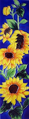 Continental Art Center MD-060 4 by 16-Inch Sunflowers with Blue Background Ceramic Art Tile