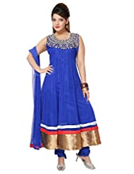Divinee Royal Blue Net Readymade Anarkali Suit