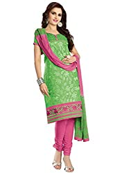 Venisa Pure Cambric Cotton Green Color Salwar Suit Dress Material