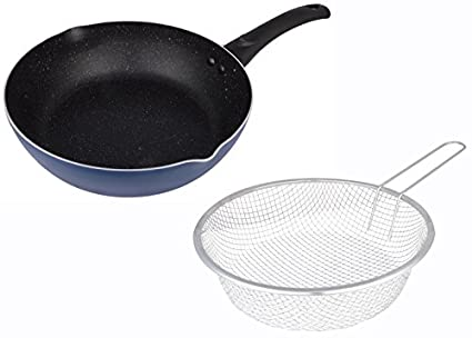 Tarrington-House-Hard-Anodized-Aluminum-Frying-Pan-Set,-1-Liter,-Blue-&-Black,-Set-of-2