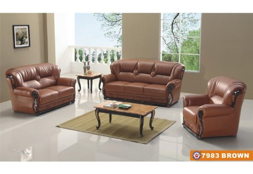 American Eagle Furniture 7983 Brown Bonded Leather with Dark Oak Wood Accents 3 Piece Sofa Set
