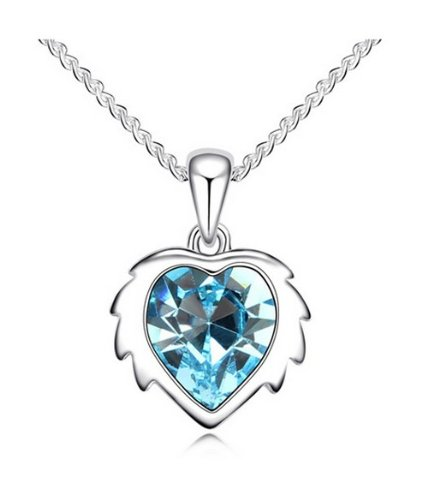 JBG Exquisite Aquamarine Kristall Anhänger Halskette Constellation Leo Fashion Charms Schmuck Persönlichkeit Geschenk in einem schönen Schmuckkästchen