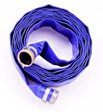 "Apache 98138065 PVC Lay-Flat Blue Discharge Hose With Male x Female Aluminum Short Shank, 55 PSI, 50 Length, 3"" ID"
