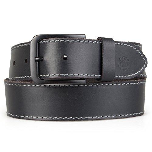 Timberland Mens Genuine Leather Topstiched Belt (34, Black)